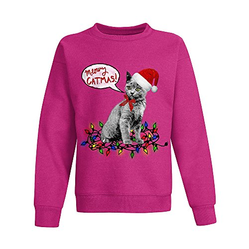 Hanes Big Girls' Ugly Christmas Sweatshirt, Amaranth/Meowy Christmas, Small