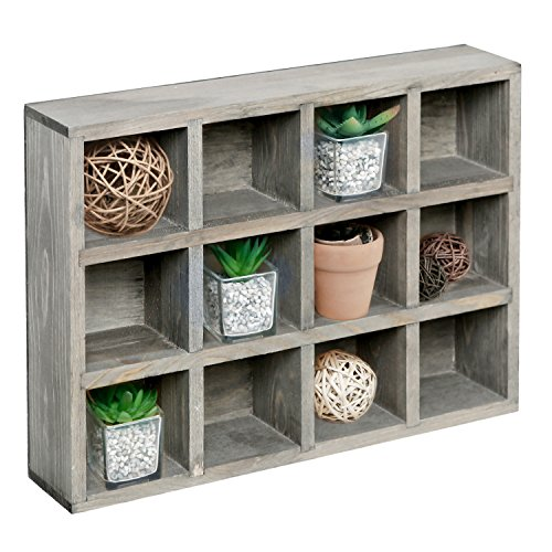 (MyGift 12 Compartment Dark Gray Wood Freestanding or Wall Mounted Shadow Box, Display Shelf Shelving Unit)