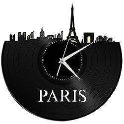 VinylShopUS - Paris Vinyl Wall Clock Cityscape Retro Decor