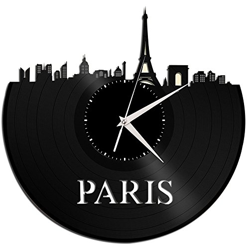 Cheap VinylShopUS – Paris Vinyl Wall Clock Cityscape Retro Decor