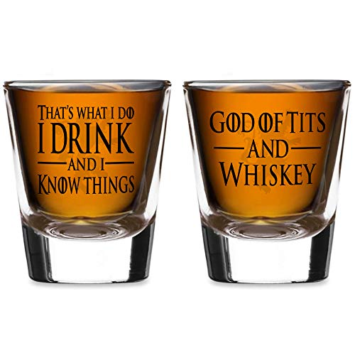 Game of I Drink & I Know Things, Tits Thrones Shot Glass Set & Gift Box (2 Shot Glass Set)