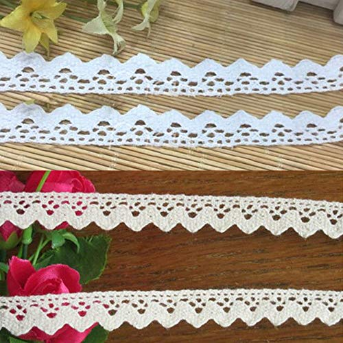 - Qiuda 10 Yards 1/2 inch Wide Cotton Crochet Cluny Lace Edge Trim Ribbon Tape Vintage Style Edging Trimmings Fabric Embroidered Applique Sewing Craft Wedding Bridal Dress DIY Clothes Decor(White)