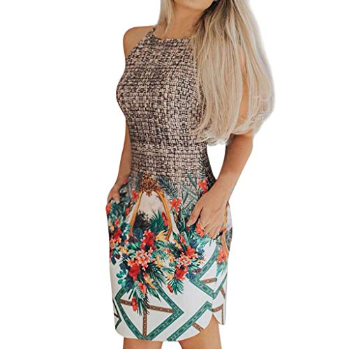 Mysky Fashion Women Summer Popular New Weave Knit Floral Print Sleeveless Evening Party Bodycon Mini Dress Coffee