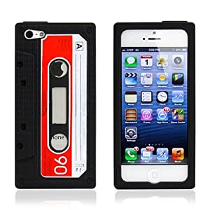 New Black Cassette Tape Soft Silicone Slim Skin Back Cover Case for iPhone 5