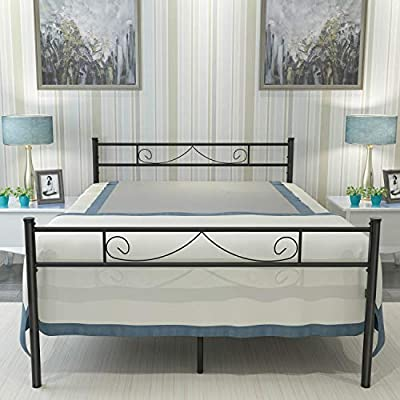 HAAGEEP Bed Frame with Headboard and Footboard No Box Spring Needed 18 Inches High Metal Platform Bedframe Storage