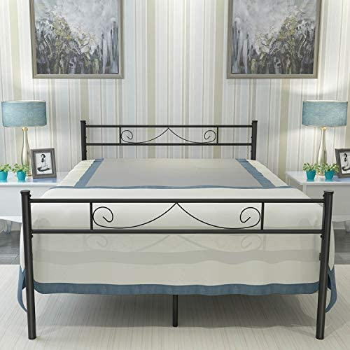 HAAGEEP Metal Platform Full Size Bed Frame With Headboard and Footboard 18 Inch Tall No Box Spring Needed Double Bedframe Storage