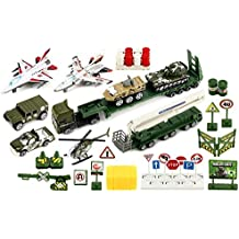Special Heavy Army Force 40 Piece Mini Diecast Children's Kid's Toy Vehicle Playset w/ Variety of Vehicles, Accessories by Toy Vehicle Playsets