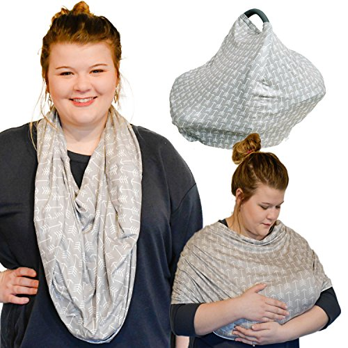 Bamboo Fabric Nursing Cover Scarf – Natural/Organic Grey/White Fabric – Doubles as a Infant Car Seat Canopy – Shopping Cart, Stroller & High Chair Cover – Multi-Use Infinity Shawl (Bamboo Fabric Chair)