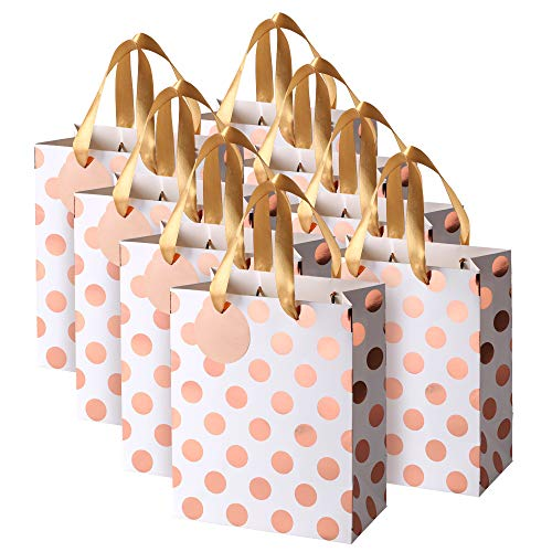 Rose Gold Gift Bags with Handles and Gift Tags, Medium, for Birthday, Sweet 16, Christmas Holidays Graduation Wedding Showers 8 Pack]()