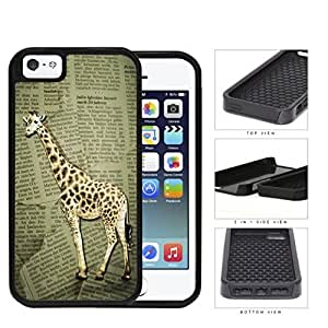 Safari Giraffe On Scrap Newspaper 2-Piece Dual Layer High Impact Rubber Silicone Cell Phone Case Apple iPhone 5 5s