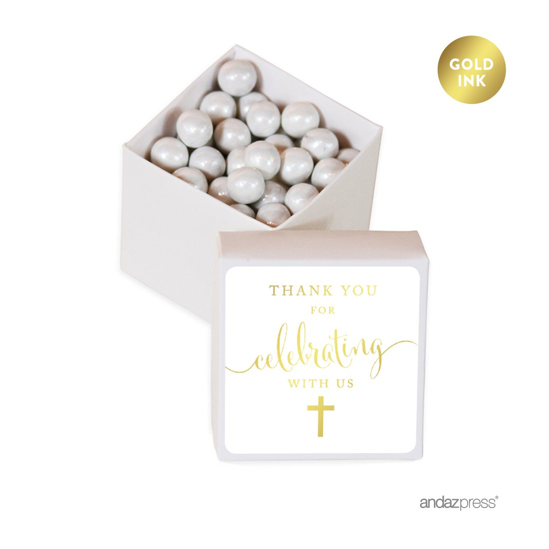For Religious Baptism Metallic Gold Label with White Box Decorations Andaz Press Mini Square Party Favor Box DIY Kit 20-Pack Christening Party Favors Thank You for Celebrating With Us