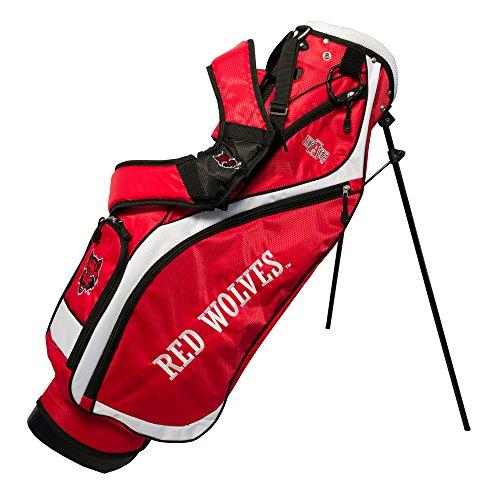Team Golf NCAA Arkansas State Red Wolves Nassau Golf Stand Bag, Lightweight, 4-Way Top w/Integrated Handle, Spring Action Stand, 4 Zipper Pockets, Padded Strap, Umbrella Holder & Removable Rain Hood