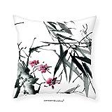 VROSELV Custom Cotton Linen Pillowcase Traditional House Decor Natural Sacred Bamboo Stems with Cherry Blossom Folk Art Print for Bedroom Living Room Dorm Emerald Pink 18''x18''