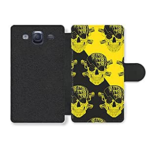 Bad Ass Skulls with Lightning and Cross Guns on Black and Yellow Funda Cuero Sintético para Samsung Galaxy S3
