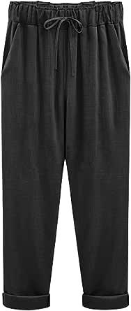 Lentta Womens Elastic Drawstring Waist Baggy Cropped Summer Linen Cotton Pants