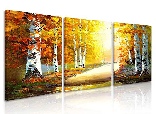 Natural art White Birches Trees Canvas Prints Wall Art with Wooden Frame for Wall Decoration 12x16 Inch 3 Panels (Tree Wooden Art Wall)
