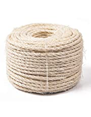 Yangbaga Cat Natural Sisal Rope for Scratching Post Tree Replacement, Hemp Rope for Repairing, Recovering or DIY Scratcher, 8mm Diameter, Come with a Sisal Ball 164FT