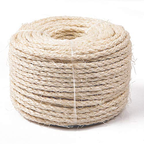 Rope Come (Yangbaga Cat Natural Sisal Rope for Scratching Post Tree Replacement, Hemp Rope for Repairing, Recovering or DIY Scratcher, 8mm Diameter, Come with a Sisal Ball 164FT)