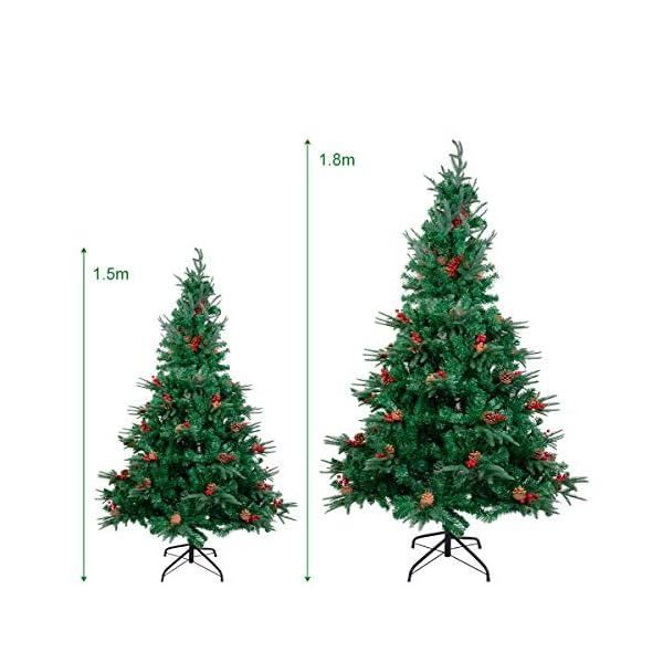 Kranich 1,5 m Albero di Natale da con pigne e Bacche Rosse, Montaggio rapido incl. Supporto per Albero di Natale, Decorazioni Natalizie 6 spesavip