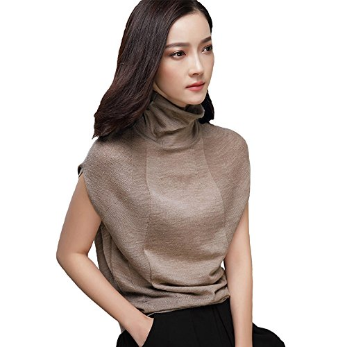 Tan Turtleneck Sweater - GABERLY Womens Knits Tees Dolman Sleeve Turtleneck Thin Sweaters Casual Shirts Tops (Large, Tan)