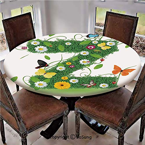 - Elastic Edged Polyester Fitted Table Cover,Fresh Summer Garden Flower Bed and Cute Butterflies Colorful Wings Leaves Decorative,Fits up 45