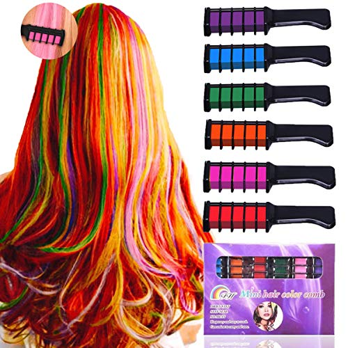 New Hair Chalk Comb Temporary Bright Hair Color Dye for Girls Kids,Washable Hair Chalk for Girls Age 4 5 6 7 8 9 10+ Christmas Gift New Year Birthday Party Cosplay DIY,6 Colors -