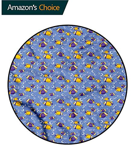 RUGSMAT Yellow and Blue Area Rugs Ring 3D Non-Slip Rug,Fishes Bubbles Circle Rugs for Living Room Diameter-51 ()