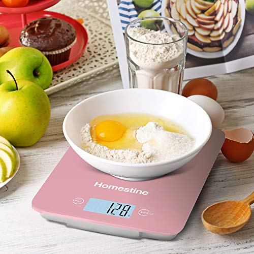 Homestine Kitchen Food Scale, 11lb Digital Diet Scale Weight Grams and oz for Cooking Baking, 1g/0.1oz Precise Graduation, Lightweight Solid Plastic and Tempered Glass