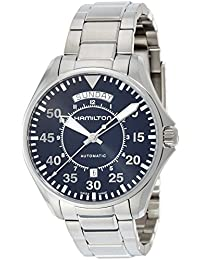 Men's 'Khaki Aviation' Swiss Automatic Stainless Steel Dress Watch, Color:Silver-Toned (Model: H64615135)