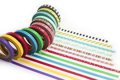 Piokio Thin Washi Masking Tape Set of 15 Rolls Colored Decorative Tape for Scrapbooking,Home Decor, DIY Craft Projects Cute Gift Wrapping Ideas For Christmas