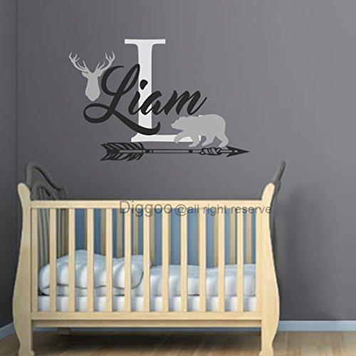 Boys Hunting Themed Wall Decal Personalized Boys Name Decal Deer Antler Arrow Bear Decal Woodland Nursery Decor (34