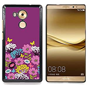 BullDog Case - FOR Huawei Mate 8 - Teal White Flowers Stylistic - Dise???¡¯???¡Ào para el caso de la cubierta de pl???¡¯????stico Chicas