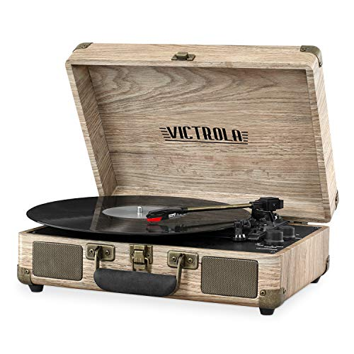 Victrola Bluetooth Suitcase Record Player with 3-Speed Turntable, Farmhouse Oatmeal