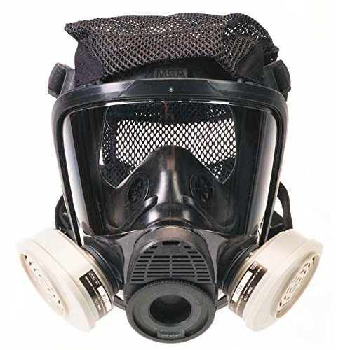 MSA Safety 10108571 Advantage 4200 Series Twin-Port Silicone Full-Facepiece Respirator with Kevlar Net Head Harness, Large