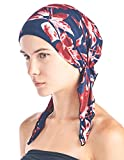 Ashford & Brooks Women's Pretied Printed Fitted Headscarf Chemo Bandana - Navy Red Floral