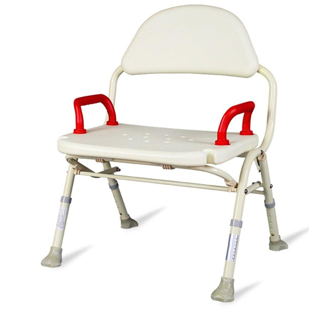 折りたたみ式シャワー/バススツールアルミ合金シャワーシートスツール高齢者/障害者のためのアンチスリップマットシャワー椅子背もたれとハンドル5つの高さで調整可能ホワイトマックスヘビーデューティーバスシート最大。 136kg B07FH7FSGM
