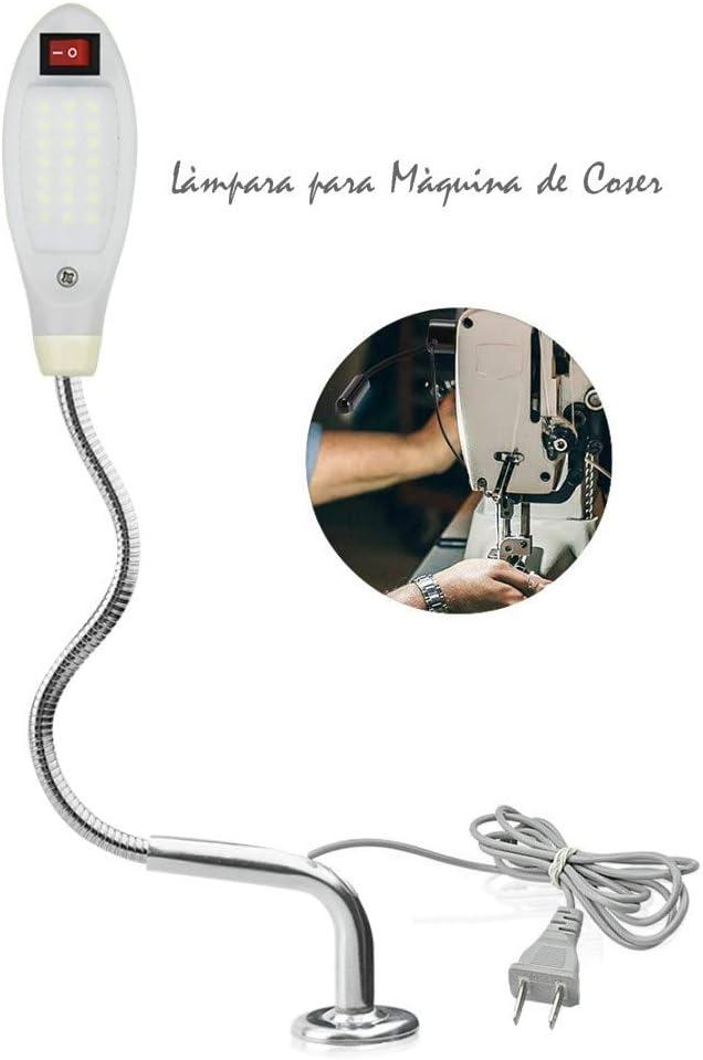 Luxvista Lámpara de Costura 21 LED Máquina de Coser Luz de Trabajo, Tubo Flexible Cuello de Cisne Interruptor de Base Magnética Ajustable Alto brillo lámpara Multifuncional para Trabajo/Leer (EU Plug)