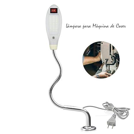 Luxvista Lámpara de Costura 21 LED Máquina de Coser Luz de Trabajo, Tubo Flexible Cuello de Cisne Interruptor de Base Magnética Ajustable,Alto brillo ...