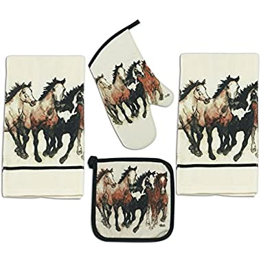 4 Piece Running Horses Kitchen Set - 2 Terry Towels, Oven Mitt, Potholder