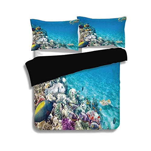 iPrint Black Duvet Cover Set Queen Size,Ocean,Clear Underwater Sea Life Animal World Corals Tropical Fishes and Stingray,Aqua Purple and Tan,Decorative 3 Pcs Bedding Set by 2 Pillow Shams -