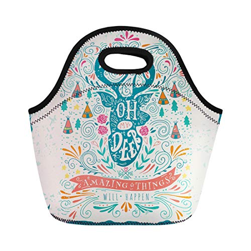 Semtomn Neoprene Lunch Tote Bag Hipster Vintage Label Reindeer and Hand Lettering This As Reusable Cooler Bags Insulated Thermal Picnic Handbag for Travel,School,Outdoors, Work