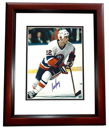 Mike Bossy Signed - Autographed New York Islanders 8x10 inch Photo MAHOGANY CUSTOM FRAME