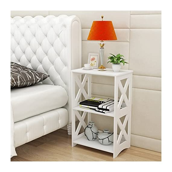 """Rerii End Table, 2 Tier Small Side Table, Simple Bedside Nightstand, Small Bookcase Bookshelf, Display Rack Shelf for Bathroom, Bedroom and Living Room, White - 【WOOD PLASTIC COMPOSITE】This little storage rack is made of of WPC(Wood Plastic Composite),which is a new eco-friendly material for furniture using,smooth surface can be easily cleaned with wet cloth; Suitable for any places,such as living room, bedroom, bathroom, office, kitchen, hallway etc 【ADORABLE & LIGHTWEIGHT】The bookshelf is SMALL (15""""L x 10.2""""W x 23.6""""H) and cute with color white as well as the X design on the sides,which goes well with any style of decoration; Such a little bookshelf is pretty lightweight and fairly easy to move around,great for someone who moves often 【VERSATILE & PRACTICAL】This little organizer shelf is multi-functional that you can use it many places in your house.As a decorative shelf for small plants, toys or knickknacks; As a little bookcase to store all your DVD movies and small books; As a bathroom shelf to store your makeup, hair or beauty items; As a kitchen storage rack for for organize some snacks and foods - shelves-cabinets, bathroom-fixtures-hardware, bathroom - 51sUCtzpuTL. SS570  -"""