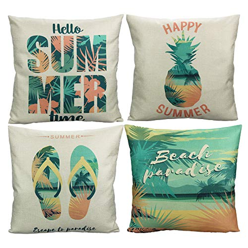 VAKADO Beach Outdoor Throw Pillow Covers Hello Summer Tropical Palm Tree Pineapple Slipper Decorative Cushion Cases Home Decor Decorations for Couch Sofa Patio 18x18 Inch Set of 4 (Themed Beach Patio)