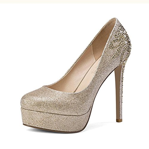 Taille Chaussures Or Forme CJC Haute UK4 Strass EU36 Imperméable Plate Hauts Golden Or femme Chaussures Talons Unique Mariage Couleur Chaussures qaAwxBfq