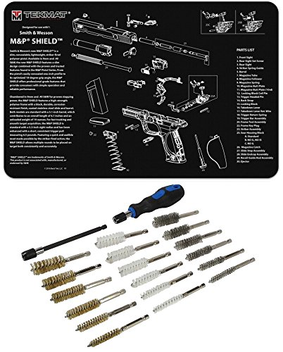 Ultimate Arms Gear Smith & Wesson S&W M&P SHIELD Gunsmith & Armorer's Work Tool Bench Pistol Handgun Gun Mat + 21pc Cleaning Kit (Gunsmith And Wesson)