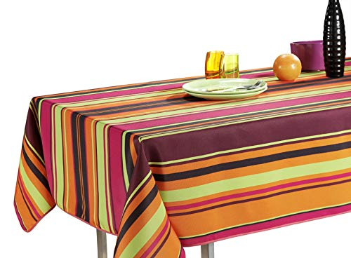 60 x 80-Inch Rectangular Tablecloth Orange Pink Purple Disco Stripe, Stain Resistant, Washable, Liquid Spills bead up, Seats 6 to 8 People (Other Size Available: 63