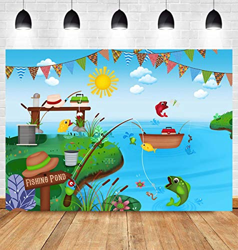 Summer Nature Pond Backdrop Fishing Rod Reel Fish Baby Shower Birthday Party Banner Supplies Kids Boys or Girls Cake Table Background Photo Studio Booth Props