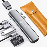 Andobil 7-in-1 Business USB C Hub Adapter Dongle Compatible for Apple MacBook Pro 2018 2017 2016/Mac Air 2018, Thunderbolt 3, Dock with 2 USB 3.0 Ports, 4K HDMI, 100W PD, SD/Micro SD Card Reader, Grey