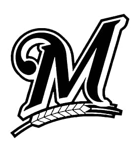 MLB Baseball Milwaukee Brewers, White, 8 Inch, Die Cut Vinyl Decal, For Windows, Cars, Trucks, Toolbox, Laptops, Macbook-virtually Any Hard Smooth Surface